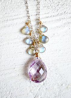 Pink amethyst and labradorite necklace purple
