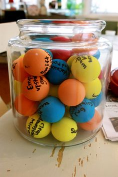 I want to try this idea but write ice breaker questions on each ball. Genius! Write chores down on little soft balls. kids choose ball and then do chore. The child that does the most chores gets a treat.  Could use this for circle time activities/songs as well!