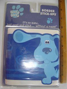 Blues Clues 1999 Viacom Blue Border Stick Ups Wall Aplique Nursery Daycare Mip