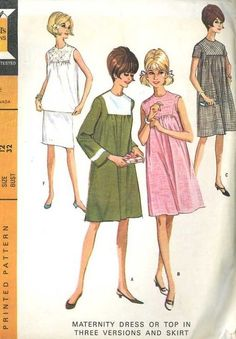 1960's McCall's 8140 Sewing Pattern Maternity Dress/Skirt/Top Set Bust 32 GC #McCalls #Casual