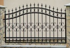 9 Sharing Tips: Fence Colours Black easy dog fence.Farm Fence And Gates rustic fence background. Fence Gate Design, Steel Gate Design, Iron Gate Design, House Gate Design, Fence Art, Metal Gates, Wrought Iron Fences, Metal Fence, Stone Fence