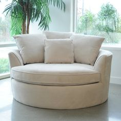 Create your own comfort zone with the Cuddler chair. This oversize round chair comfortably fits two people. Covered in a durable microfiber fabric for years of enjoyment. Make sure to measure before ordering. Chair And A Half, Bedroom Chair, Bedroom Decor, Bedroom Lounge Chairs, Office Chairs, Living Room Chairs, Living Room Decor, Dining Chairs, Wooden Chairs