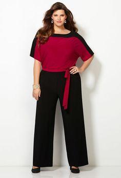 COLORBLOCK JUMPSUIT, Black Red, large
