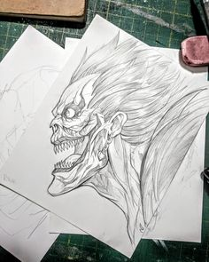 Ryuk - sketch Using and HB Dark Art Drawings, Pencil Art Drawings, Art Drawings Sketches, Tattoo Sketches, Easy Drawings, Mortal Kombat Art, Satanic Art, Scary Art, Arte Horror