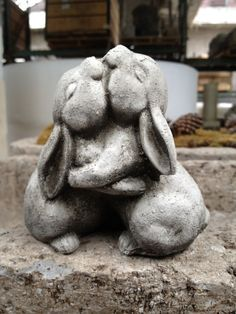 Hugging Bunnies - Animal Statue- Home and Garden Decor