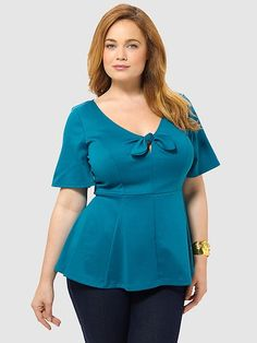 Ponte Peplum Top In Ocean Blue by Kiyonna Curvy Fashion, Plus Size Fashion, Women's Fashion, Curvy Outfits, Fashion Outfits, Dresses For Apple Shape, African Blouses, Plus Clothing, Professional Dresses