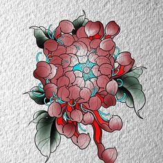 Oriental Flowers, Rose Tattoos, Chrysanthemum, Color Tattoo, Asian Art, Body Art, Skull, Japanese, Space