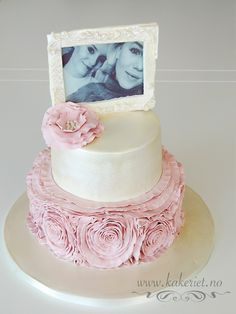 Confirmationcake, konfirmasjonskake, Kakeriet.no, Sandefjord, rose ruffles, edible photo and frame Ruffles, Rose, Desserts, Tailgate Desserts, Pink, Deserts, Postres, Dessert, Roses