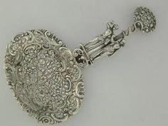 Unusual 800 Silver Lg Bon Bon / Berry Spoon figural Adam & Eve HANAU Germany