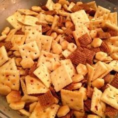 Firey Crackers on Allrecipes.com - My aunt Jan got us hooked on the saltine version of these last winter.  I'm going to try them in a snack mix too!