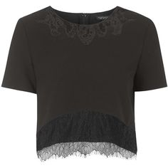 TOPSHOP Lace Insert Tee ($45) ❤ liked on Polyvore featuring tops, t-shirts, crop top, shirts, black, black shirt, black crop tee, crop shirts, boxy t shirt and boxy shirt