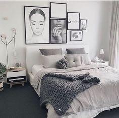 eacfd5aa00ec Contemporary Scandinavian feminine bedroom. Monochrome black