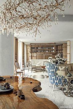 Unusual chandelier, eclectic elegance