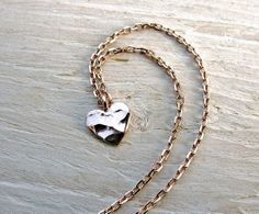 Rose Gold Necklace with Heart Charm from Etsy.  #valentine'sday #fashion #accessories
