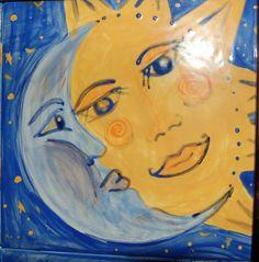 art tile -mosaic | Hand Painted Sun Moon Ceramic Art Tile Wall Hanging - Ceramic Tiles ...