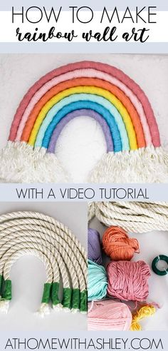 easy DIY- how ot make a rainbow wall hanging out of rope. This fiber art is the … easy DIY- how ot make a rainbow wall hanging out of rope. This fiber art is the perfect statement art in a… Continue Reading → Diy Craft Projects, Diy Home Crafts, Easy Diy Crafts, Arts And Crafts, Craft Ideas, Diy Ideas, Decor Ideas, Wall Ideas, Project Ideas