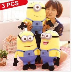 "Find More Movies & TV Information about 3 PCS/Set 20"" Big Size NEW Baby Toy Minions Despicable ME 3D Eyes Pelucia Stuffed Plush Doll Movie Figures Kids Xmas Gift 1 PCS,High Quality doll wholesale,China doll Suppliers, Cheap toy video from M&J Toys Global Trading Co.,Ltd on Aliexpress.com"