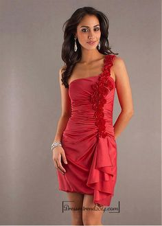 Beautiful Stretch Satin Sheath / Column One-Shoulder Short Cocktail / Evening Dress Homecoming Dress