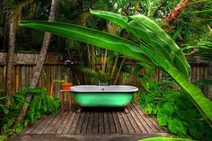 Huffington Post named the outdoor tubs at the Goldeneye Resort in Jamaica in the Top 10 Best Hotel Bathtubs. Outdoor Bathtub, Outdoor Bathrooms, Outdoor Showers, Garden Bathtub, Hotel Bathrooms, Restaurant Bathroom, Garden Bathroom, Bathroom Plants, Outdoor Rooms