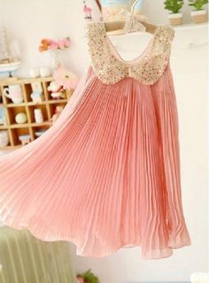 pink sleeveless pleated glitters Peter Pan collar Christmas wedding birthday party sleeveless dress for toddler girls 2 3 4 5 6 7 8 years on Etsy, $24.99