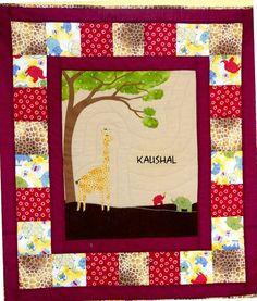 elephants and giraffe baby quilt