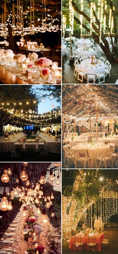 wedding reception ideas with hanging lights #rusticweddingideas #elegantweddinginvites