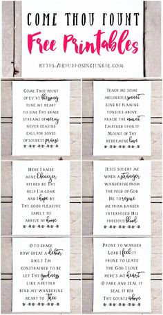 Come Thou Fount Hymn Free Printables, Free Printables, Hymn Printables, Easy Wall Decor, Prints, Wall Art, Inspirational, Free printables for the home