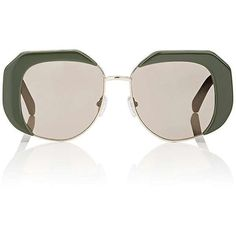 Karen Walker Women's Domingo Sunglasses ($189) ❤ liked on Polyvore featuring accessories, eyewear, sunglasses, dark green, karen walker, over sized sunglasses, clear eyewear, oversized sunglasses and mirrored lens sunglasses