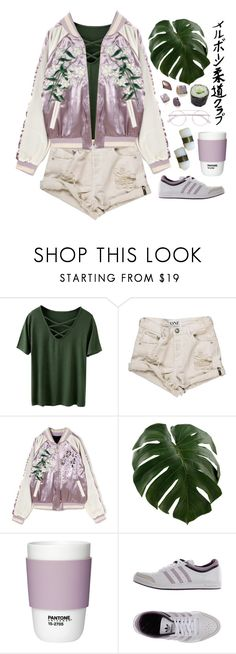"""Pieces of peace in the sun's peace of mind..."" by ginaisanerd ❤ liked on Polyvore featuring OneTeaspoon, Pantone, Jura, adidas Originals and Mykita"