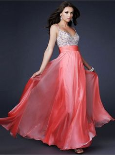2013 Coral Long Sparkly Top Chiffon Prom Dress Sale [Coral Sparkly Top] - $
