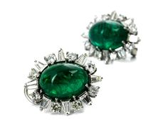Zambian cabochon emerald and diamond ear clips