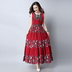 Folk Style Embroidered Maxi Vintage Dress   Furrple