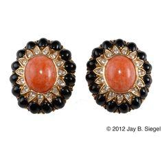 CINER Coral & Black Cabochon Rhinestone Earrings