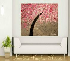 ORIGINAL HUGE Landscape Abstract  Pink Cherry Blossoms Oil Painting Thick Texture Gallery Fine Art -Nicolette Vaughan Horner by artmod