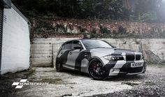 BMW 1 series E87 matte grey and black camo wrap - custom hand crafted design.  See monsterwraps.co.uk for more details