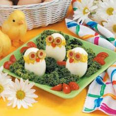 Cute Egg Chicks:  12 hard-cooked eggs  1/2 cup mayonnaise  1/2 cup shredded Parmesan cheese  2 teaspoons finely chopped onion  1/2 teaspoon curry powder  1/2 teaspoon prepared mustard  1/8 teaspoon pepper  3 pimiento-stuffed olives  1 small sweet red pepper