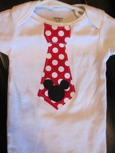 Onesie with Ironed On Mickey Mouse Tie