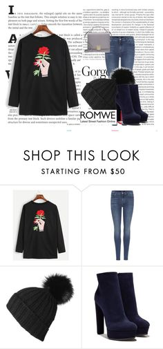 """""""ROMWE"""" by amina-33 ❤ liked on Polyvore featuring Oris, 7 For All Mankind, Black, Casadei and Smythson"""
