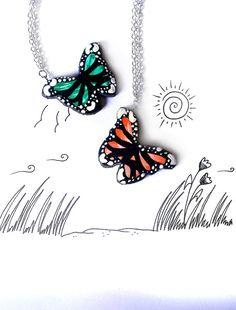 Collana farfalla colorata realizzata a mano in porcellana fredda e dipinta a mano, regalo donna ragazza moglie mamma compleanno estate