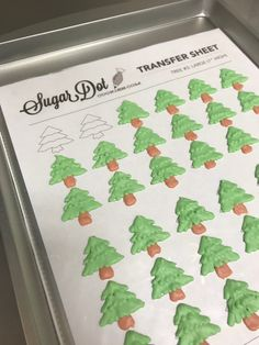 Template Transfer Sheets to Make Royal Icing Transfers - Trees for Christmas, woodland, snowy forest designs No Bake Sugar Cookies, Sugar Cookie Royal Icing, Cupcake Icing, Cupcake Cakes, Piping Templates, Royal Icing Templates, Royal Icing Transfers, Christmas Sugar Cookies, Christmas Chocolate
