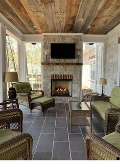 How we Built Our Outdoor Fireplace on our Patio Porch – Life with Neal & Suz - Backyard Designs Outdoor Fireplace Patio, Porch Fireplace, Deck With Fireplace, Outdoor Fireplace Designs, Porch To Patio, Back Yard Porch, Front Porch, Rustic Outdoor Fireplaces, Outside Fireplace