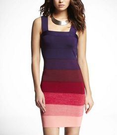 Ombre Striped Bandage Dress...really love these. the colors are amazing. reminds me of art.