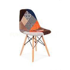 Eames Style DSW Wood Base Mid Century Modern Shell Dining Chair Patchwork Fabric #FurnitureSourceWorldwide #MidCenturyModern