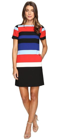 Tahari by ASL Crepe Thick Stripe Shift Dress (Red/Cobalt/Black) Women's Dress - Tahari by ASL, Crepe Thick Stripe Shift Dress, 7129M460-689, Apparel Top Dress, Dress, Top, Apparel, Clothes Clothing, Gift - Outfit Ideas And Street Style 2017