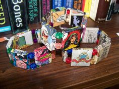 bracelets made with re-purposed comic books and cardboard.
