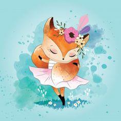 Little fox con su bufanda de cola