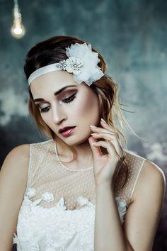 Bridal headpiece, organza headpiece, crystal headpiece, Ivory organza petals and swarovski crystal adorned satin headband