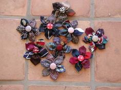 Upcycled and Recycled Men's Neckties flower pins