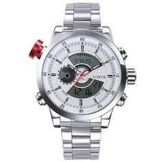 Sale 11% (16.99$) - NORTH 6015 Fashion Men Digital Watch Casual Luminous Muti-function Stainless Steel Strap Wristwatch
