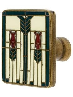"Prairie Tulips Cabinet Knob With Enamel Inlay - 1 1/4"" Square 